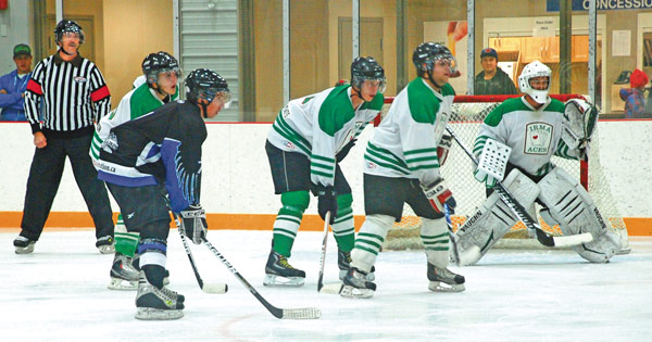 350 fans came to the Forestburg Arena to cheer on the Forestburg Flyers during their season opener in the East Central Senior Hockey League. The Flyers battled the Irma Aces on Friday.