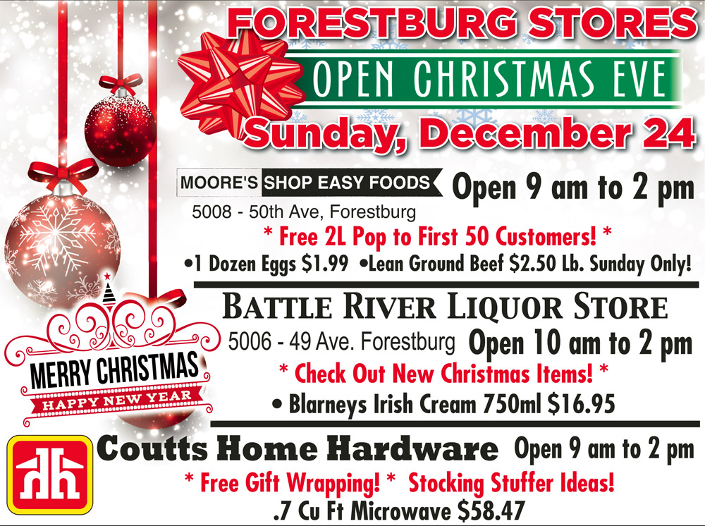 Forestburg Businesses open on Christmas Eve