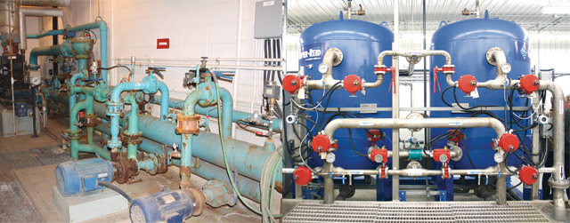 Unlike the old plant, seen here above left, the new plant allows for conservation during operation. The two filters auto backwash, and also use an automatied pressurized air to clean, while all pumps have a spare that kicks in automatically if either the first pump goes down, or the demand increases dramatically, like if a fire hydrant is being used. The total cost of the project is just over $3 million.
